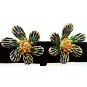 vintage enamel flower power clip earrings